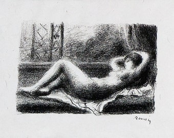 PIERRE-AUGUSTE RENOIR - 'Odalisque' - limited edition vintage lithograph - c1974 (edition of 75. Triton Press)