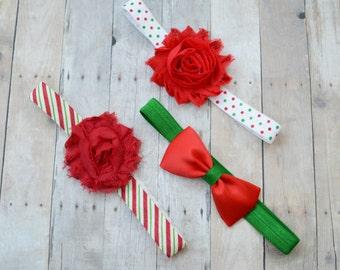 Newborn Christmas headbands, Set of Christmas headbands, Christmas headbands