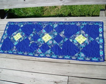 Hand Quilted Bright blue table runner