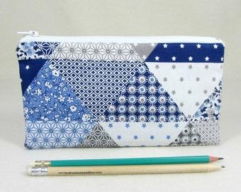 Pencil case, School supplies, Blue and white zipper pouch, Small makeup bag, Pencil holder, Patchwork gadget case
