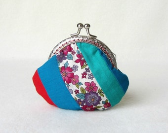 Patchwork coin purse, Red and blue purse, frame coin pouch, patchwork, change purse