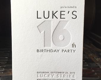 BIRTHDAY Invitation, Letterpress Birthday Invitation, Double thick  2 ply, Letterpress Wedding, Letterpress Menu, Letterpress Wedding Progra
