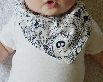 Baby Bandana Bib with Snap - Drool Bib - Unisex Bib - Bib with animals - Black and white bib