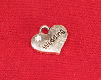 """BULK! 15pc """"Wedding"""" charms in antique silver style (BC1120B)"""