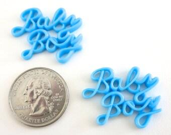 "10pc ""baby boy"" resin flat back cabochons (C46)"