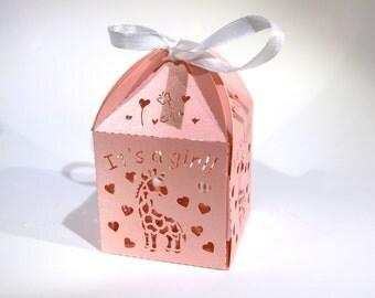 "20pc ""pink giraffe"" baby shower favor boxes (D13)"