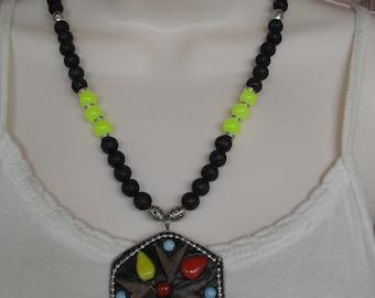 Necklace, bohemian jewelry, ethnic jewelry, boho chic, tribal, lava stone, neon beads, ooak pendant