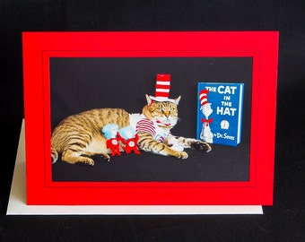 Cat in Hat Note Card-Blank Photography Cat Greeting Card-Gift Card for Cat Lovers-Read Every Day-Cat Reading Book-Cat Art-Dress Up Cat-AE17