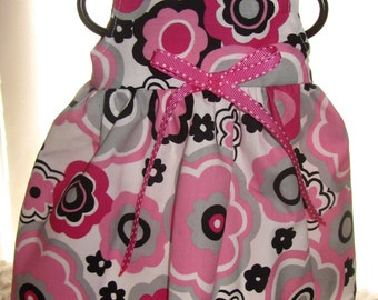 READY to SHIP Bitty Baby dress, Doll Dress, 15 inch doll dress, Hot Pink/ Black Flowers doll dress will fit Bitty Baby or any 15 inch doll