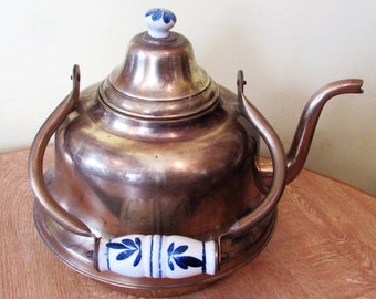 A Very Large Heavy Antique/Vintage Brass And Ceramic Kettle.