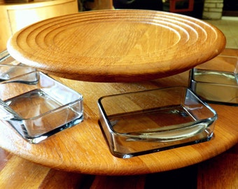 Mid Century Digsmed (Denmark) 2-Tier Teak Lazy Susan with 6 Original Smoked Glass Inserts