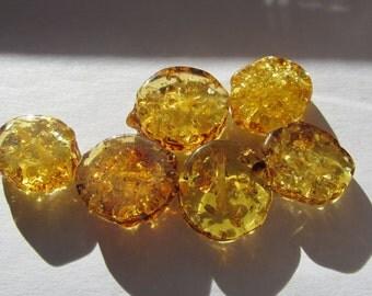 6 bead amber AB ~ 17x16x7mm