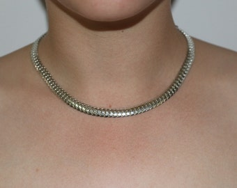 Vintage Western German Silver Eloxal Stunning Snake Chain Choker Necklace