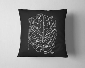 Brain Pillow With Insert - Vintage Anatomy Print Pillow - Macabre Throw Pillow WITH INSERT- 18x18