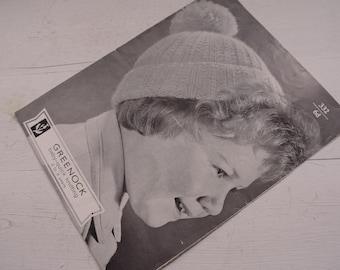 Vintage Greenock Hat Knitting Pattern - 2 to 3 Years