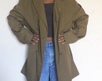 Vintage Olive Green Trench Coat