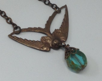 Vintaj Antiqued Brass Swooping Swallow with Rustic Aqua Picasso Czech Glass Stone Necklace