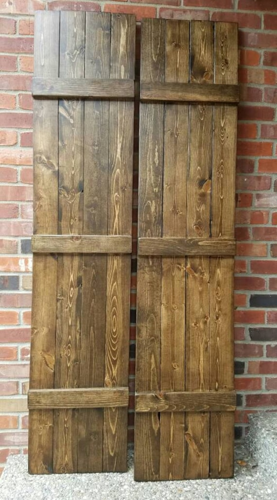 Hand crafted rustic primitive country espresso shutters pair for Country shutters