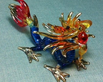 Hand Blown Glass Dragon Animal Cute Blue Red Orange Tiny Figurine Miniature Statue Decoration Collectible Small Craft Hand Painted Figure