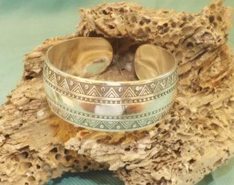 Silver Plated Tibetan Silver Carved Bangle Bracelet