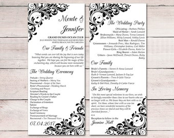 "Printable Program Template Instant Download - Tea Length Wedding Program ""Jenna"" Black Flourish Ceremony Program DIY Wedding"