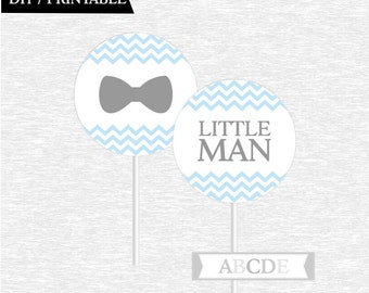 Instant Download Baby Blue Grey Chevron Bow Tie Little Man Cupcake Toppers, Little Man toppers, DIY Printable (PDMSI002)
