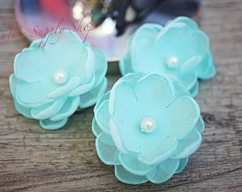 "Set of 3 Aqua - 1.5"" Chiffon Flowers w/ Pearl Center - Petite flower - Chiffon Flower - Fabric Flower - wholesale flowers - Headbands Supply"