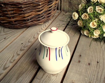 Vintage Sugar Bowl - French Ceramic Bowl with Lid - Digoin Sarreguemines - Red Blue Black Green Stripes - Made in France - Kitchen Storage