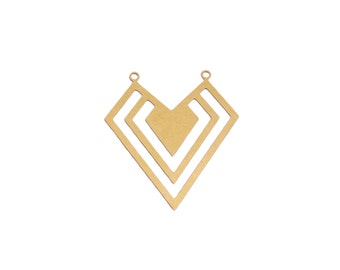 Raw Brass Geometric Pendant, 1 Pc, Geometric Heart Pendant, Art Deco Jewelry, Laser Cut Jewelry, Exclusive at Goldie Supplies