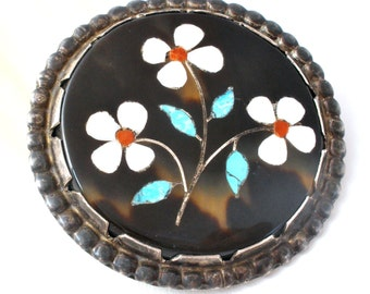 Victorian Brooch, Pietra Dura Pin, Sterling Silver, Inlay Gemstones, Floral Brooch, Turquoise Coral, Antique Brooches