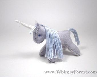 Miniature Silver Grey Felt Toy Unicorn