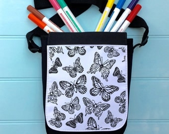 Butterflies Colour In Bag For iPad across the body strap Colouring in Adult Activity Girls Colour In Handbag Hours Of Fun Colouring In