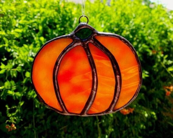 Stained Glass Fall Thanksgiving Pumpkin Autumn Orange
