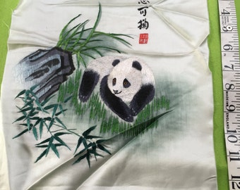 """Signed Antique Chinese silk embroidery  Panda 13""""x10"""" embroidered vintage"""