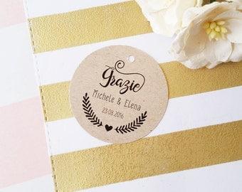 Italian Wedding Tags, Grazie Tags, Favor Thank You Tags, Brown Kraft Favor Tags, Wedding Thank You Tags