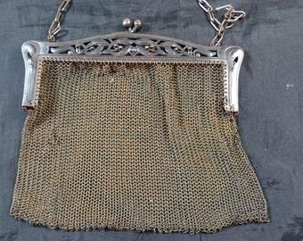 Antique Victorian Chain Mail Mesh Metal Handbag Purse Ladies Art Nouveau