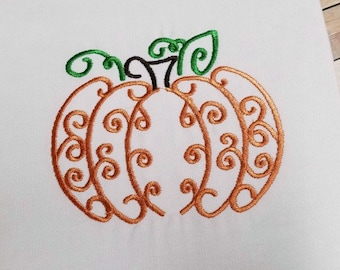 Pumpkin Embroidery Design - Fall Embroidery Design - Thanksgiving Embroidery Design - Kitchen Embroidery Design - Halloween Embroidery