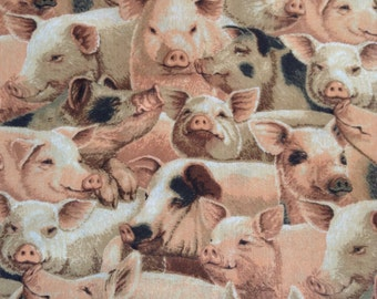 One Half Yard of Fabric Material -  Pig Collage