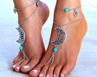 """Women Barefoot Sandal """"Moonlight party"""", soleless sandals, boho jewelry, boho sandals, ankle jewelry, foot jewelry"""
