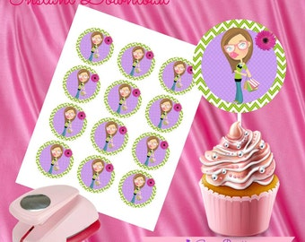 "Shopper Girl Cupcake Toppers,Shopper Girl Gift tags,Shopper Girl Instant Download, Shopper Girl Party Favor, Printable Labels, 2""inch"