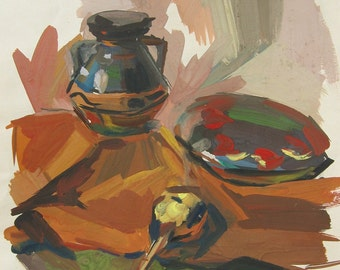 Still Life-Gouache Painting ,Vintage
