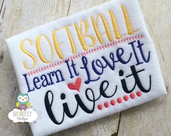 Softball Learn It Love it Live it Shirt, Baseball Season, Softball Season, Love of Baseball, I Love Baseball, Out of Your League, Baseball