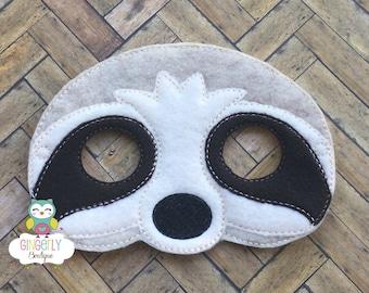 Sloth Mask, Kids Dress Up Mask, Sloth Costume Mask, Wool Blend Mask, Felt Sloth Mask, Jungle Party Favor, Monkey Mask