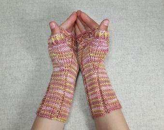 Owls Fingerless Gloves for kids, pink yellow, handknitted wrist warmers, mittens