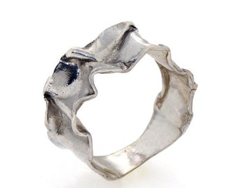SALE 20% Off - CRUMPLED sterling silver ring, unique silver ring, Sterling Silver Wedding Band, mens silver band, custom silver ring