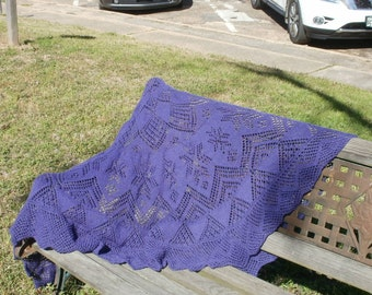 Semicircular Lacy Purple shawl