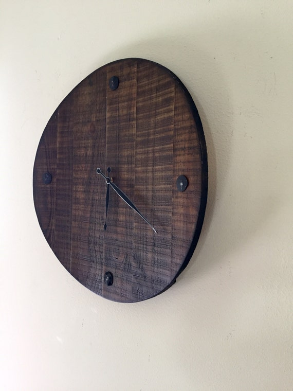 Reclaimed Wood Clock Large Solid Reclaimed Materials Wooden