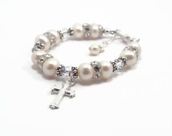 First Communion Bracelet, Baby Bracelet, Baptism Bracelet,Christening Bracelet, Baby Shower Gift, Pearl Bracelet, Flower Girl Bracelet (B88)