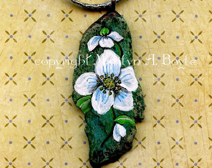 HAND PAINTED -STONE; flower pendant, necklace, jewelry, blossoms, wearable art, original art, for her,
