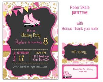 Skate party, Roller skate party,   skate birthday, roller skate party, Skate invitation  Skate party invite Roller blade party